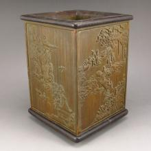 Chinese Bamboo Root Brush Pot Carved Characters Mountains Rivers Scene