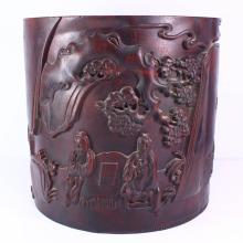 Chinese Natural Zitan Wood Brush Pot Carved Sages Meeting