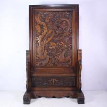 Chinese Natural Sanders Wood Screen w Dragon & Phoenix