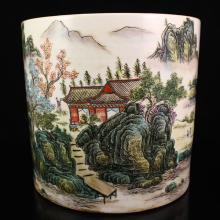 Superb Hand-painted Chinese Famille Rose Porcelain Brush Pot
