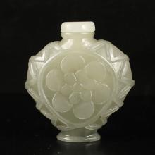 Hand Carved Chinese Natural Hetian Jade Snuff Bottle