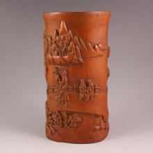 Chinese Natural Boxwood Brush Pot Carved Sages Meeting