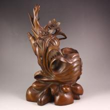 Hand-carved Chinese Natural Boxwood Lotus Brush Pot Statue