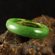Inside Diameter 53 mm Chinese Natural Green Hetian Jade Bracelet