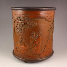 Chinese Bamboo Brush Pot Carved Sages Meeting