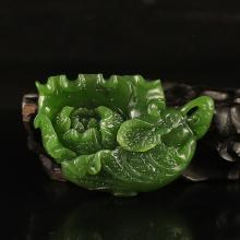Hand Carved Chinese Natural Green Hetian Jade Pendant w Fortune Cabbage