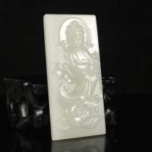 Hand Carved Chinese Natural Hetian Jade Pendant - Lotus Flower & Kwan-yin