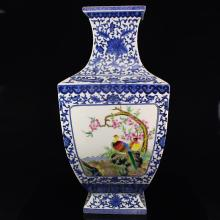 Superb Chinese Blue And White + Famille Rose Porcelain Big Vase w Qian Long Mark
