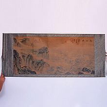 Hand Drawn Chinese Xuan Paper Mountain River Scene Painting w Artist Signature