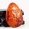 Chinese Natural Nan Hong Agate Pendant Carved Fortune Beast Face