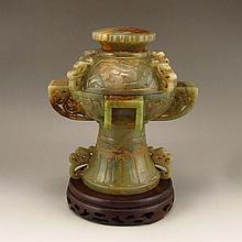Vintage Chinese Natural Hetian Jade Low Relief Incense Burner w Lid & Lucky Form
