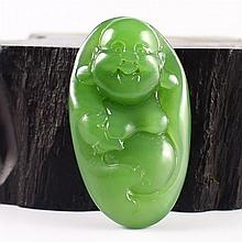 Hand Carved Chinese Natural Green Hetian Jade Pendant - Laughing Buddha