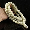 Hand Carved Chinese Natural Jade 17 mm 108 Buddhism Prayer Beads Necklace