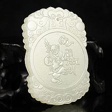 Hand-carved Chinese Natural Hetian Jade Pendant - Fortune Kid