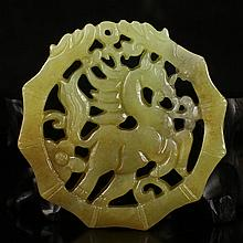 Hand Carved Chinese Natural Hetian Jade Pendent w Horse