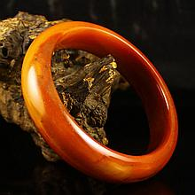 Internal Diameter 59mm Hand Carved Chinese Natural Jade Bracelet