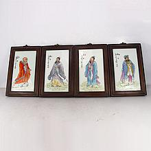A Set Hand-painted Chinese Famille Rose Porcelain Plaque Painting