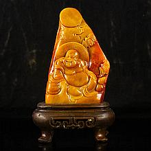 Chinese Natural Shoushan Stone Statue Carved Laughing Buddha