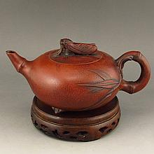 Handmade Chinese Yixing Zisha / Purple Clay Teapot w Artist Signature
