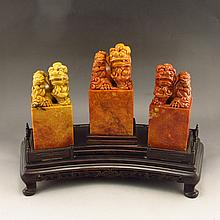 A Set Excellent Hand Carved Chinese Natural Shoushan Stone Seal w Lions