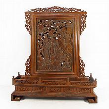 Hollow Carved Chinese Natural Boxwood Hard Wood Screen Statue w Taoism Deity & Fortune Kid