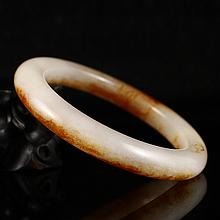 Internal Diameter 57mm Hand Carved Chinese Natural Hetian Jade Bracelet