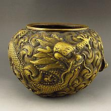 Chinese Qing Dy Style Brass Pot w Dragon& Qian Long Mark