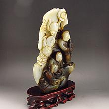 Vintage Hand Carved Chinese Natural Hetian Jade Statue w Urchin & Fortune Bat