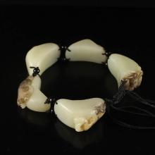 Chinese Hetian Jade Bracelet w Five Kinds Insects