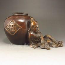 Chinese Bronze Statue Li Bai Drunk
