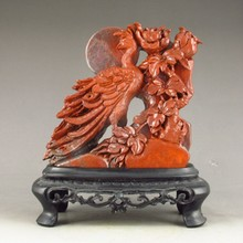 Hand-carved Chinese Shoushan Stone Statue - Phoenix & Flowers