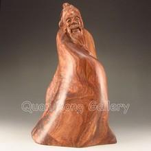 Hand-carved Chinese Huang hua li Hardwood Statue - Sage