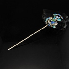 Chinese Genuine Silver Cloisonne Hairpin - Flower Bird