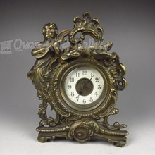Bronze Mechanical Table Clock w Angel