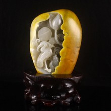 Hand-carved Chinese Natural Hetian Jade Statue - Crane & Lotus Flowers