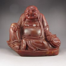 Huge Hand-carved Chinese Shoushan Stone Statue - Laughing Buddha & Bat