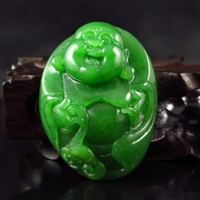 Hand-carved Chinese Natural Green Hetian Jade Pendant - Laughing Buddha