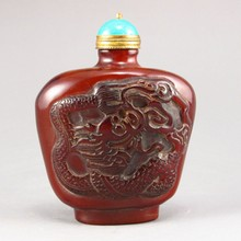 Hand-carved Chinese Ox Horn Snuff Bottle - Dragon