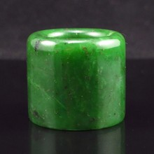 Hand-carved Chinese Natural Green Hetian Jade Thumb Ring