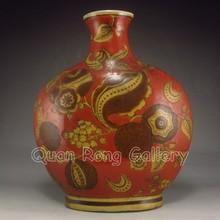 Hand-painted Red Glaze Chinese Porcelain Pot