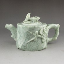 Natural Hand-Carved Chinese Jade Teapot w Magpie & Plum Flower