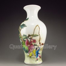 Hand-painted Chinese Famille Rose Porcelain Vase w Ju Ren Tang Mark