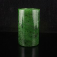 Hand-carved Chinese Natural Green Hetian Jade Brush Pot