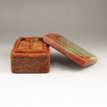 A Pair Vintage Hand-carved Chinese Shoushan Stone Seal / Stamp & Box