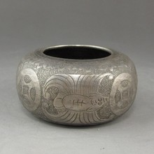 Vintage Chinese Genuine Silver Carved Bat Pot w Mark