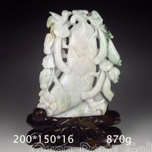 Superb Hand-carved Chinese Natural Jadeite Statue - Bird,Towel Gourd & Flower