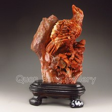 Hand-carevd Chinese Shoushan Stone Statue - Eagle & Pine Tree