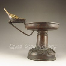 Used Chinese Bronze Candlestick Statue w Bird