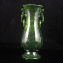 Hand Carved Chinese Hetian Jade Double Rings Vase