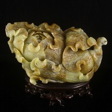 Hand-carved Chinese Natural Hetian Jade Statue - Fortune Cabbage